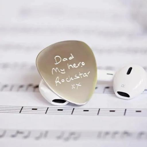 Own handwriting engraved guitar pick
