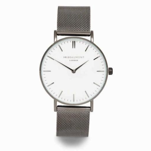 Mr Beaumont of London Men's Gun Metal Watch Engraved With Your Own Handwriting