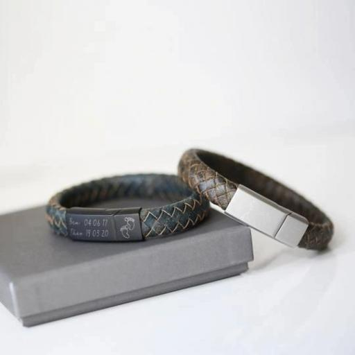 Engraved Handwriting Leather Bracelet