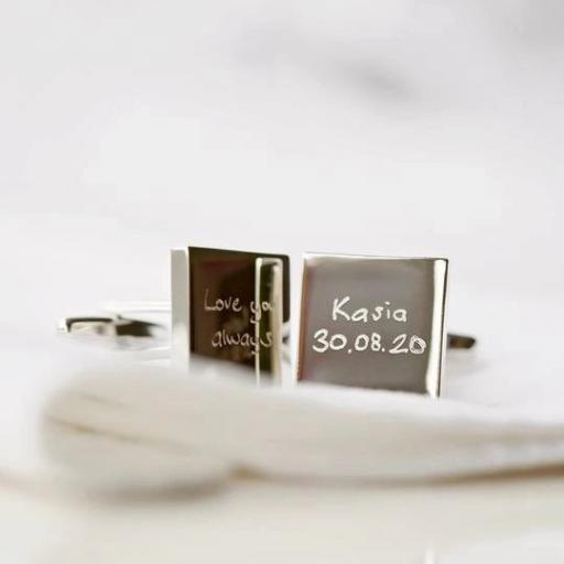 Engraved Own Handwriting Cufflinks