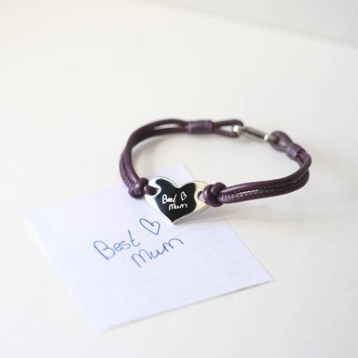 Handwriting Hearts Forever Bracelet Berry