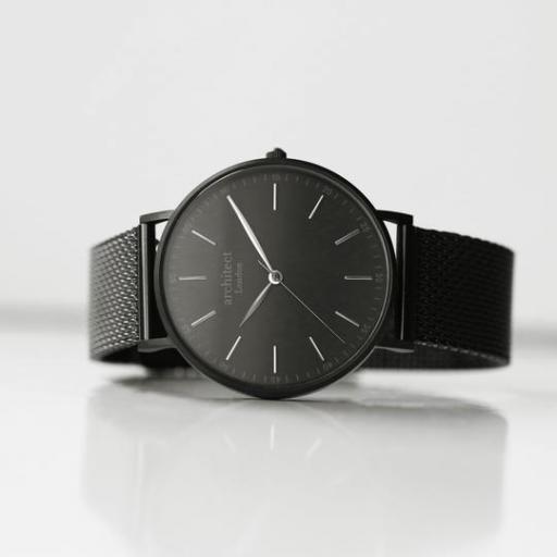 Modern Font Engraving - Men's Minimalist Watch + Pitch Black Mesh Strap