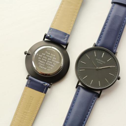 Modern Font Engraving - Men's Minimalist Watch + Admiral Blue Strap