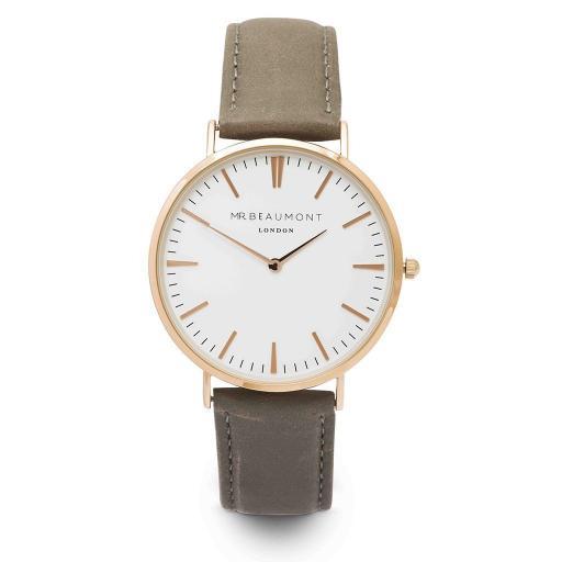 Own Handwriting Mr Beaumont Men's Grey Gold Bezel Watch