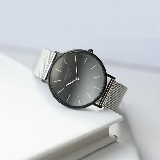 Modern Font Engraving - Men's Minimalist Watch + Steel Silver Mesh Strap