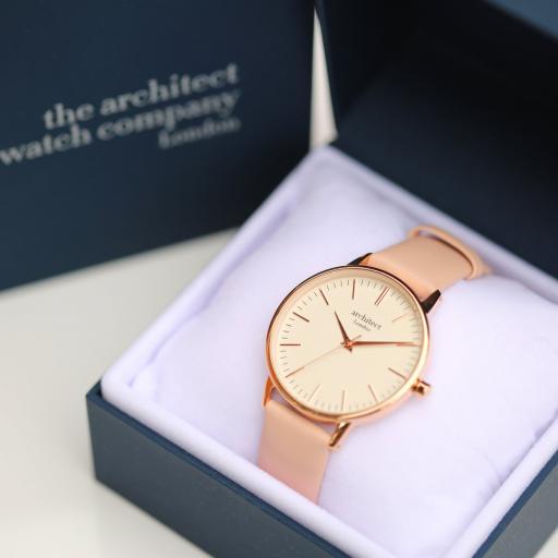 Architect Personalised Ladies Blanc Watch + Light Pink Strap