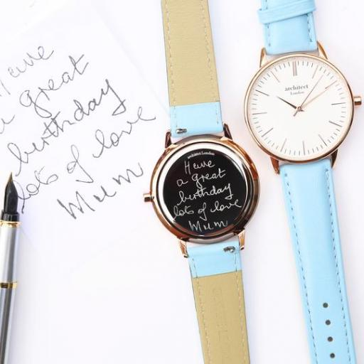 Ladies Architēct Blanc - Handwriting Engraving + Light Blue Strap